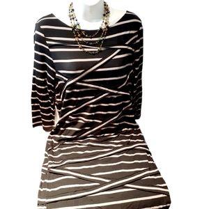 Black & cream midi woman dress